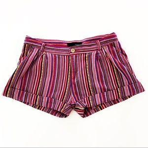 Kaisely Woven Striped Cuffed Shorts Size M